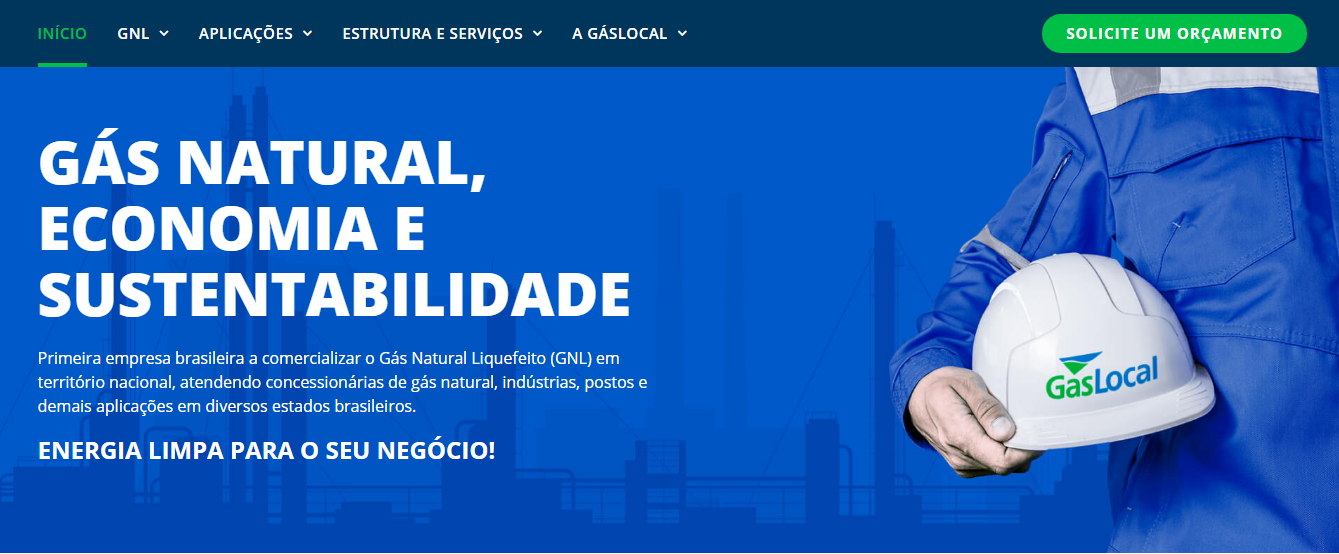 O novo site da GásLocal, criado e desenvolvido pela agência Sawi, possui um ambiente moderno e informativo.